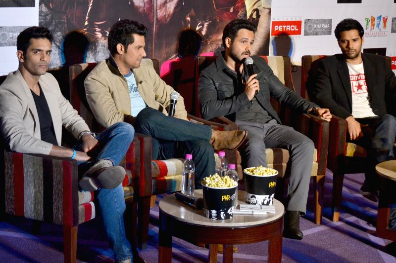 The star cast of film `Ungli` actors Emraan Hashmi, Randeep Hooda, Angad Bedi and Neil Bhoopalam at a press meet in New Delhi on Nov. 25, 2014. - Emraan Hashmi, Randeep Hooda, Angad Bedi and Neil Bhoopalam