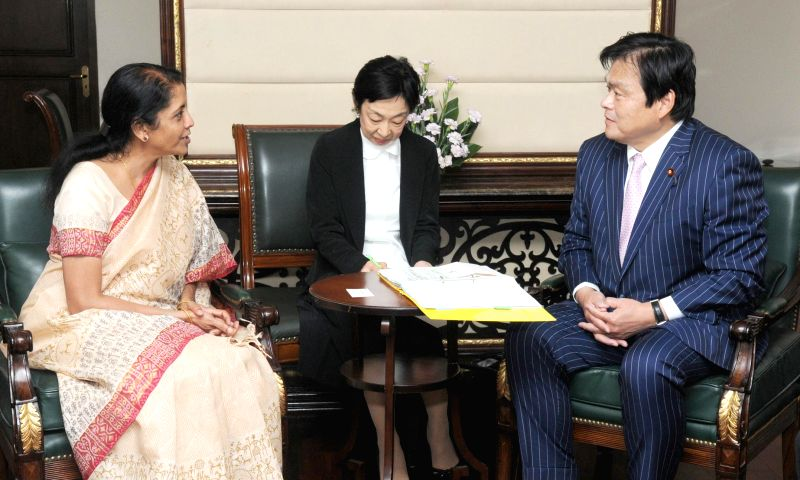 The State Minister of Economy, Trade and Industry, Japan Kazuyoshi Akaba and Minister of State for Commerce & Industry (Independent Charge), Finance and Corporate Affairs Nirmala Sitharaman ...