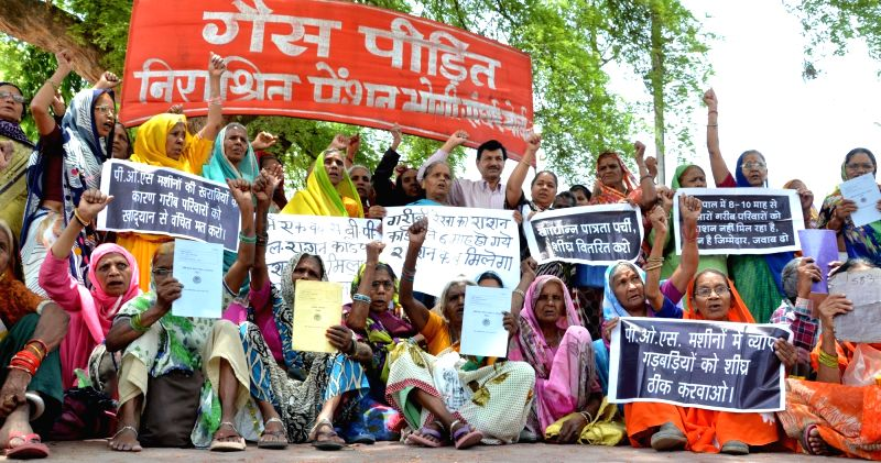 The survivors of Bhopal Gas tragedy stage a demonstration to press for their various demands in Bhopal on May 18, 2017.