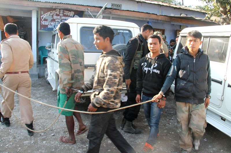 The suspected NDFB (S) militants who were apprehended by security forces in Kokrajhar of Assam on Jan 9, 2015.
