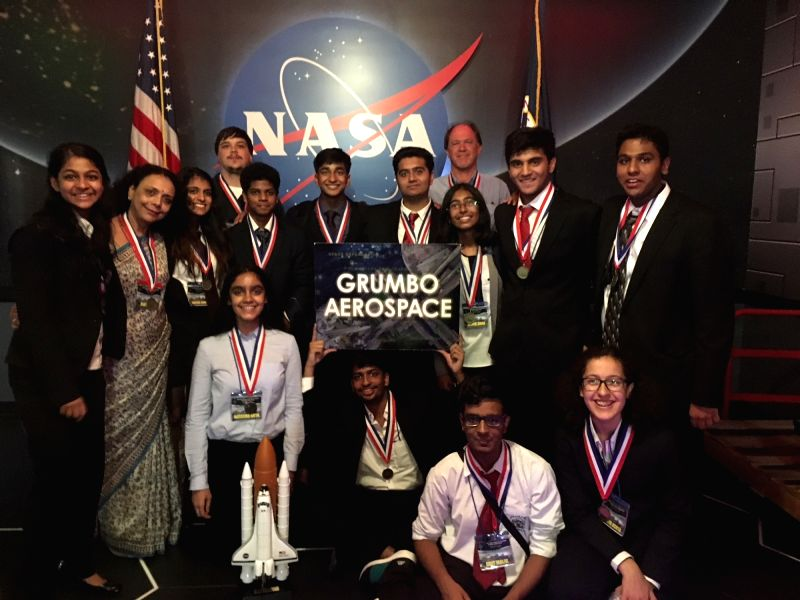 "The team of 12 students along with their advisor from DPS R K Puram, that has won ""International Space Design Competition"" in NASA as part of the winning ""Grumbo Aerospace"" ..."