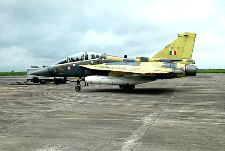 The Tejas Light Combat Aircraft at Bhopal Airport on Aug 10, 2016.
