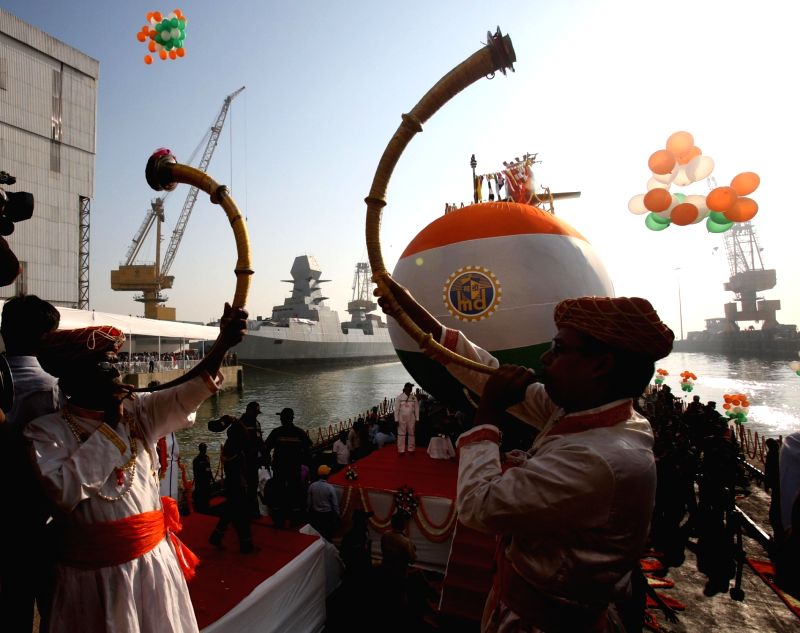 The third indigenous - built Scorpene - class submarine Karanj being launched at the Mazagaon Dock Shipbuilders Ltd in Mumbai on Jan. 31, 2018.