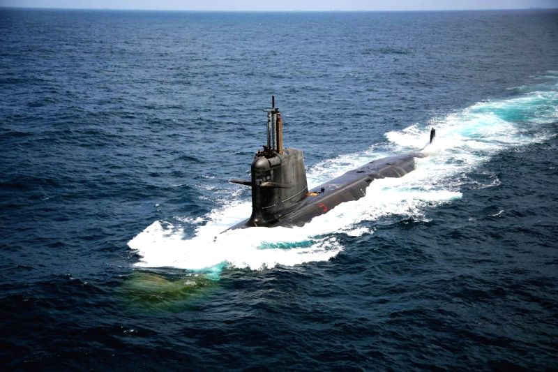 The third indigenous - built Scorpene - class submarine Karanj launched in Mumbai. (File Photo: IANS)