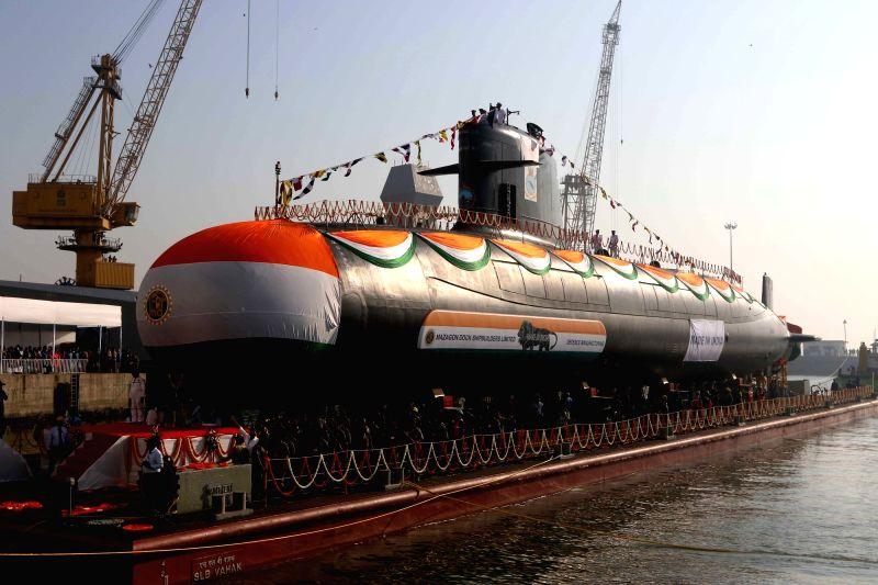 The third indigenous - built Scorpene - class submarine Karanj launched at Mazgaon Dock Limited in Mumbai on Jan 31, 2018.