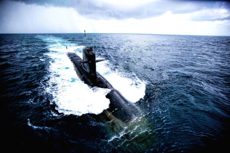 :The third indigenous - built Scorpene - class submarine Karanj launched in Mumbai. (File Photo: IANS).