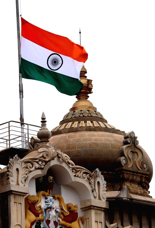 The tricolor flies at half-mast as a mark of respect to former Tamil Nadu Chief Minister and DMK leader M. Karunanidhi who died in Chennai on Tuesday; at Vidhana Soudha, in Bengaluru on ...