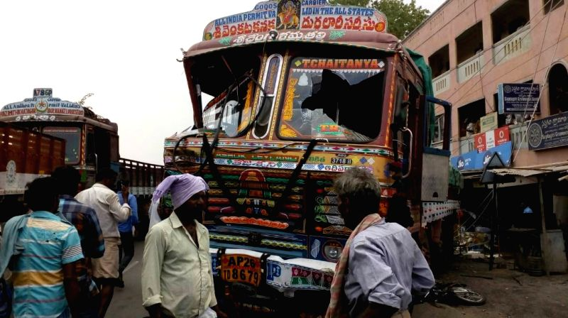 The truck that  rammed into a group of villagers in Andhra Pradesh's Chittoor district killing at least 14 persons on April 21, 2017. The speeding truck hit an electric pole, before ramming ...
