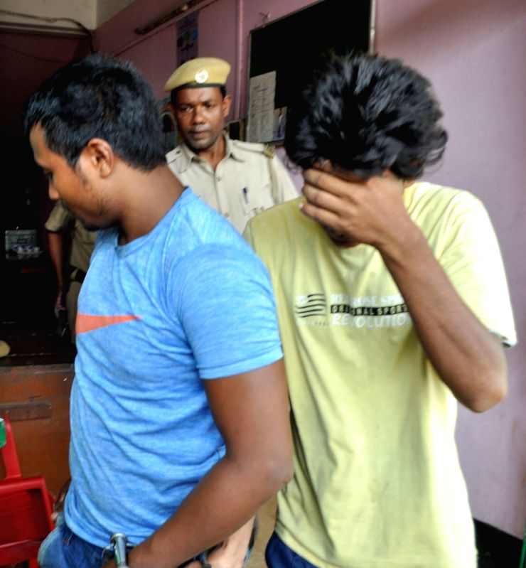 The two persons who have been arrested in connection with stone attack in the bus carrying Australian players, in Guwahati, on Oct 12, 2017.