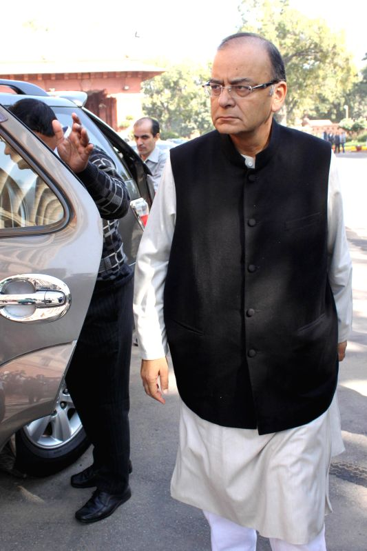The Union Minister for Finance, Corporate Affairs, and Information and Broadcasting, Arun Jaitley at the Parliament premises in New Delhi, on Dec 1, 2014. - Arun Jaitley