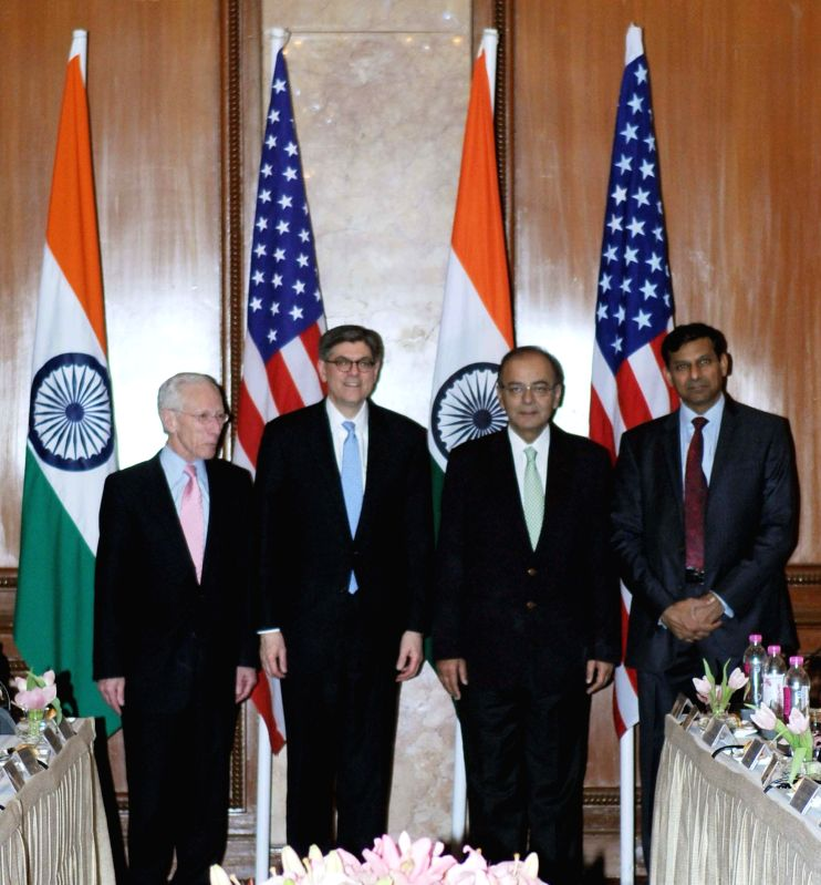 The Union Minister for Finance, Corporate Affairs and Information, and Broadcasting, Arun Jaitley, the Governor of Reserve Bank of India Raghuram Rajan and the US Secretary for Treasury Jacob Lew at . - Arun Jaitley