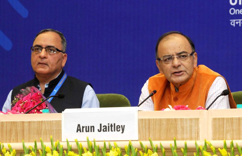 The Union Minister for Finance, Corporate Affairs and Information and Broadcasting Arun Jaitley addresses at the 5th National Community Radio Sammelan, in New Delhi on March 16, 2015. Also seen the ...