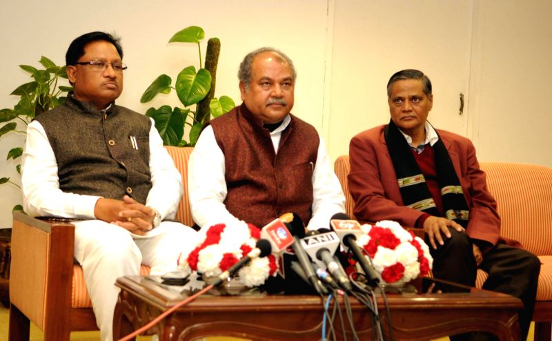 The Union Minister for Mines and Steel Narendra Singh Tomar briefs the press regarding the meeting of Mines Ministers of States on the Mines and Minerals (Development and Regulation) (Amendment) ...