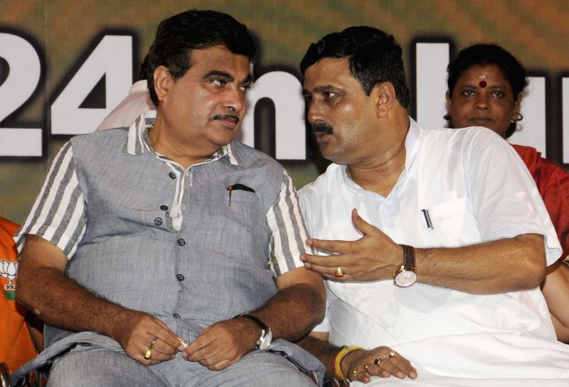 The Union Minister for Road Transport and Highways and Shipping Nitin Gadkari during ``Nari Samman Yatra`` conclude in Kolkata on June 24, 2015.