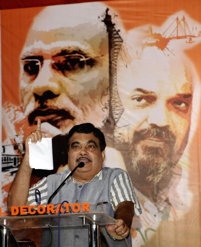 The Union Minister for Road Transport and Highways and Shipping Nitin Gadkari addresses during ``Nari Samman Yatra`` conclude in Kolkata on June 24, 2015.