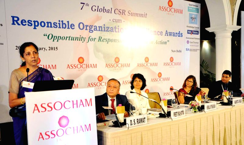 The Union Minister of State for Commerce and Industry (Independent Charge) Nirmala Sitharaman addresses at the 7th Global CSR Summit cum Responsible organisation excellence awards presentation ...