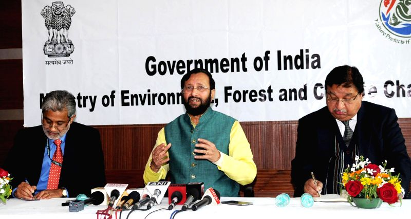 The Union Minister of State for Environment, Forest and Climate Change (Independent Charge), Prakash Javadekar addresses a Press Conference regarding Climate Change and `Chintan Shivir`, in New Delhi