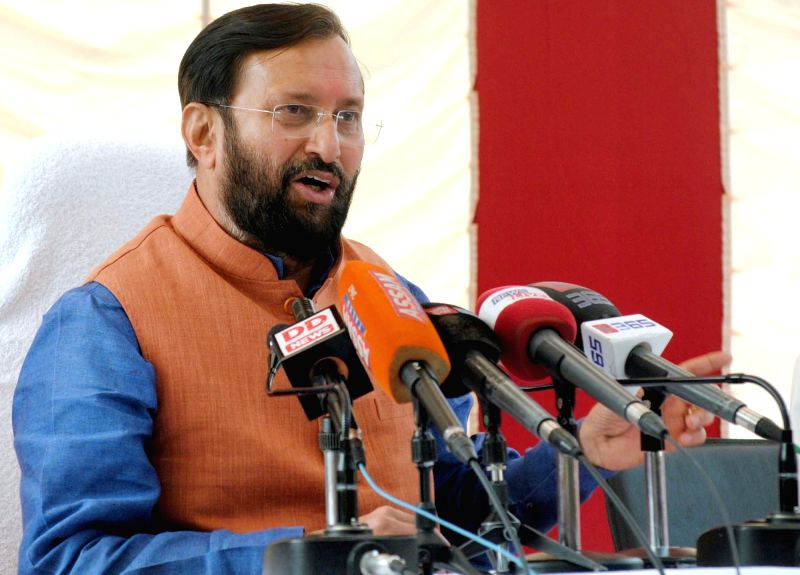 The Union Minister of State for Environment, Forest and Climate Change (Independent Charge), Prakash Javadekar addresses a press conference, in Guwahati on Nov 17, 2015.