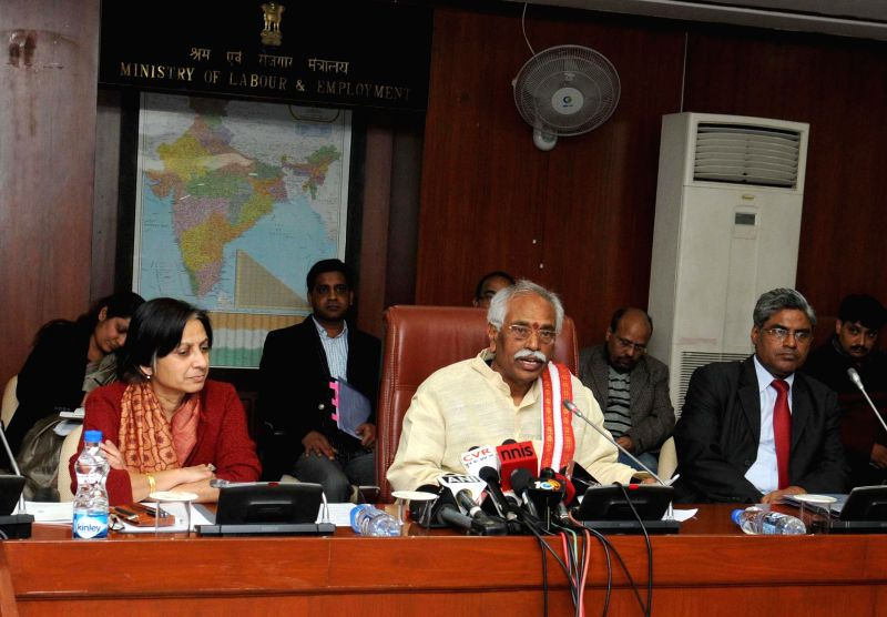 The Union Minister of State for Labour and Employment (Independent Charge), Bandaru Dattatreya briefs press, in New Delhi on Jan 6, 2015. Also seen the Secretary of Ministry of Labour and Employment, - Kumar