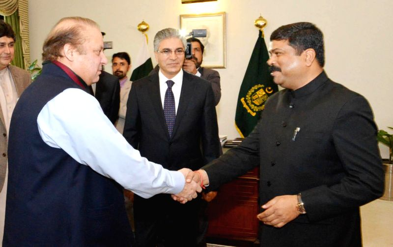 The Union Minister of State for Petroleum and Natural Gas (Independent Charge) Dharmendra Pradhan meets the Prime Minister of Pakistan, Nawaz Sharif, on the sidelines of the TAPI Steering Committee ..