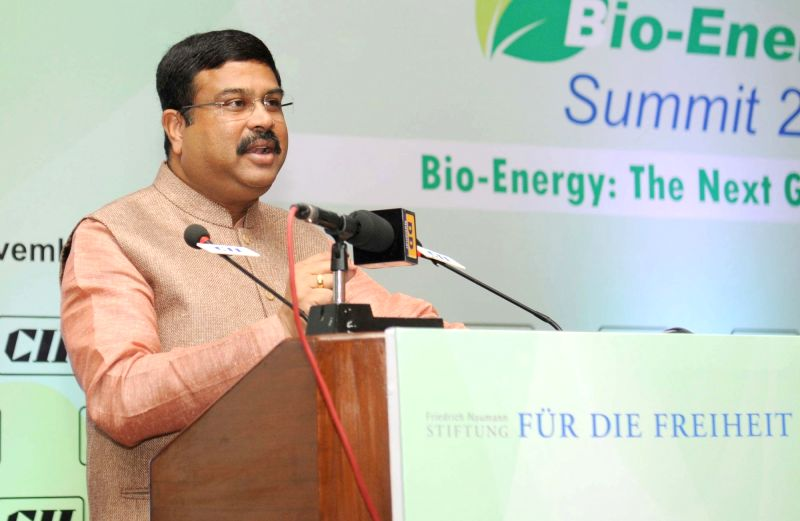 The Union Minister of State for Petroleum and Natural Gas (Independent Charge) Dharmendra Pradhan addresses at the inauguration of the 'Bio-Energy Summit 2015`, on the theme ...
