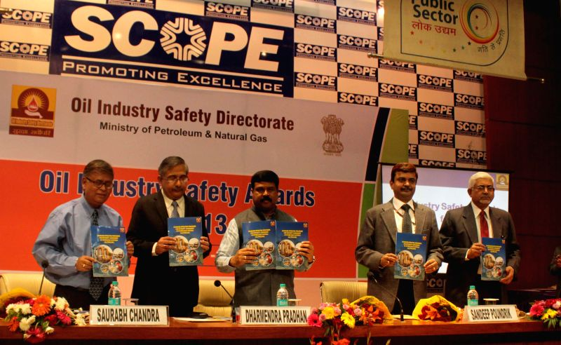 The Union Minister of State (Independent Charge) for Petroleum and Natural Gas, Dharmendra Pradhan during the presentation ceremony of the Oil Industry Safety Awards, in New Delhi on Dec 3, 2014.