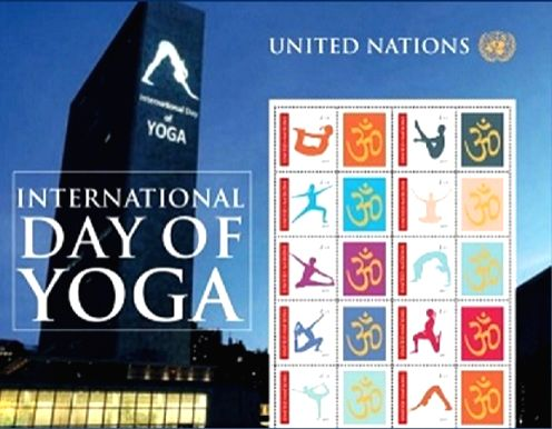 The United Nations Postal Administration will be issuing a set of 10 stamps each depicting a different asana on International Yoga Day, June 21, 2017. (Photo credit: India UN Mission/via IANS)