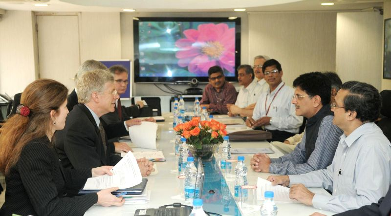The US Deputy Secretary, Daniel Poneman meeting the Minister of State (Independent Charge) for Power, Coal and New and Renewable Energy, Piyush Goyal, in New Delhi on July 30, 2014.