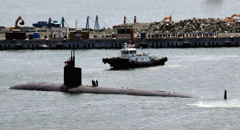 The USS Cheyenne, a U.S. nuclear-powered attack submarine, leaves a naval base in Busan, some 450 kilometers south of Seoul, on June 11, 2017, after a five-day stay to let its sailors take a rest and ...