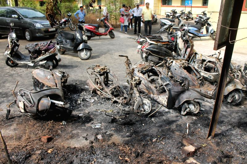 The vehicles that were set ablaze at one of the girls hostels of Government Medical College and Hospital (GMCH) by unidentified persons in Nagpur, on June 2, 2016.
