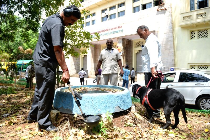 The venue of AIDMK chief Jayalalita's swearing in ceremony being sanitised in Chennai, on May 20, 2016.