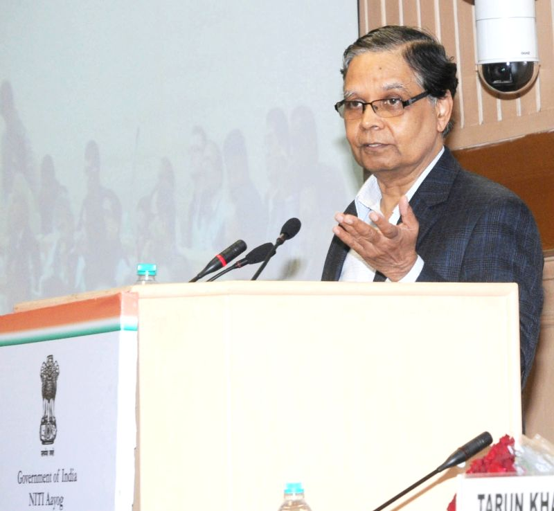 The Vice-Chairman, NITI Aayog, Arvind Panagariya addresses at the panel discussion on Atal Innovation Mission (AIM) and SETU (Self Employment and Talent Utilization), in New Delhi on Dec ...