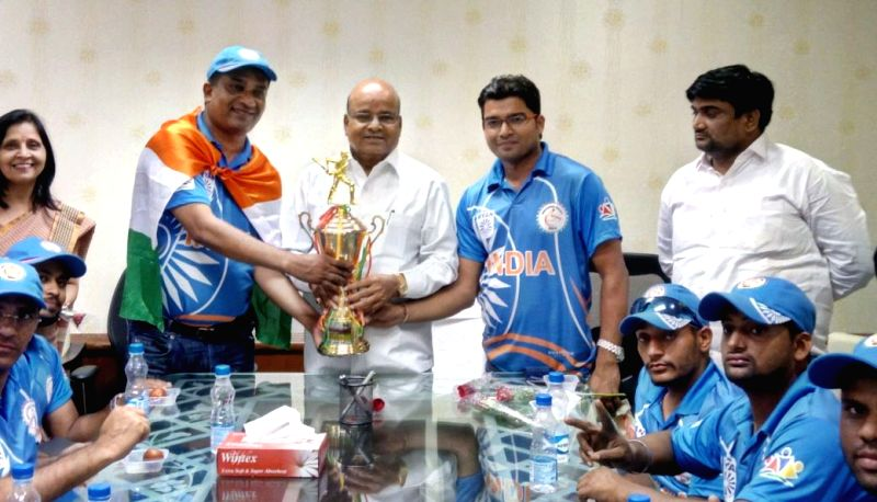 The victorious 'Indian Wheelchair Cricket Team' meet the Union Minister for Social Justice and Empowerment Thaawar Chand Gehlot in New Delhi on May 9, 2018.