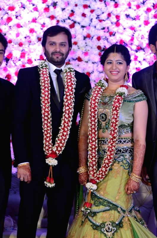 The wedding reception of actress Jayaprada`s son Siddharth with Pravallika Reddy in Hyderabad. - Pravallika Reddy
