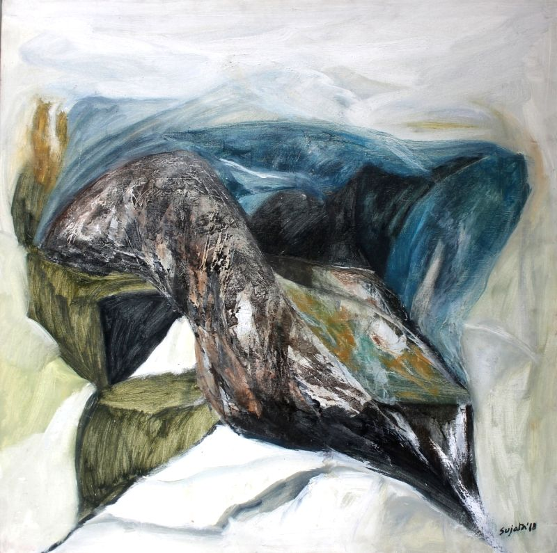 The Whisperer I Oil on Canvas 30 inch X 30 inch (2018). (Photo: Triveni Kala Sangam)