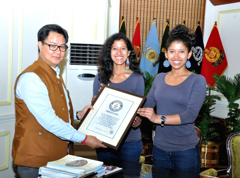 The World`s first female twins to successfully climb the Mount Everest, Tashi and Nungshi Malik calls on the Minister of State for Home Affairs Kiren Rijiju, in New Delhi on July 7, 2015.