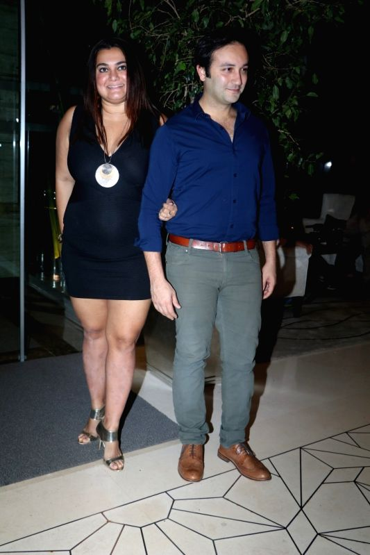 Theater actors Divya Palat and Aditya Hitkari during the party orgnised by Tanishaa Mukerji on behalf of her Charitable Initiative NGO STAMP in Mumbai on July 23, 2016 - Divya Palat and Aditya Hitkari