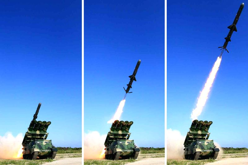 These photos published by the North's daily Rodong Sinmun on June 9, 2017, show the launch of the country's new surface-to-ship cruise missile. The report said the country's top leader Kim Jong-un ...