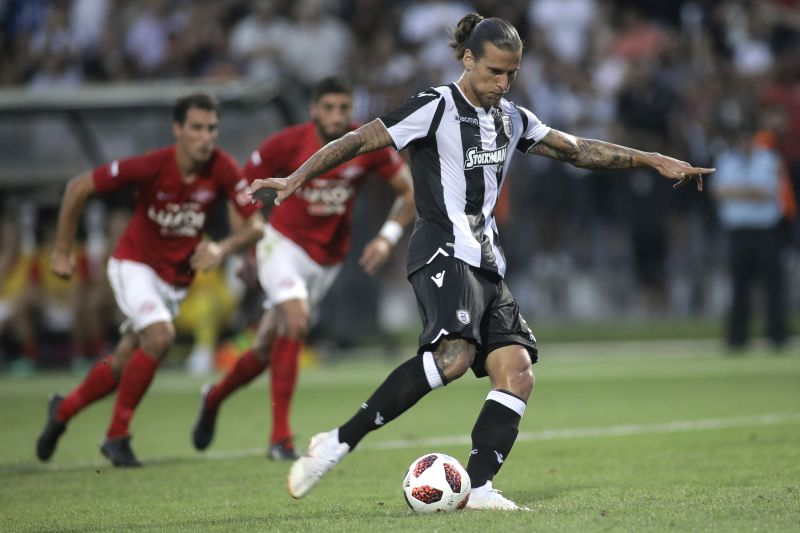 THESSALONIKI, Aug. 9, 2018 - PAOK's Aleksandar Prijovic scores on a penalty kick during the UEFA Champions League third qualifying round football match between PAOK and Spartak Moscow at Toumba ...