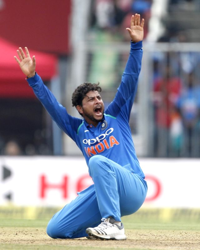 Thiruvananthapuram: India's Kuldeep Yadav appeals during the fifth and final ODI match between India and West Indies in Thiruvananthapuram, on Nov. 1, 2018. (Photo: Surjeet Yadav/IANS)