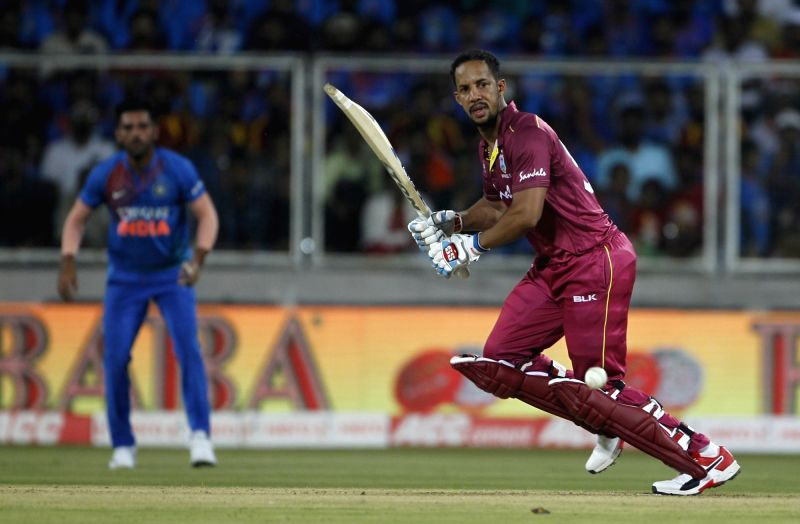 Thiruvananthapuram: West Indies' Lendl Simmons in action during the second T20I match between India and West Indies at the Greenfield International Stadium in Thiruvananthapuram, Kerala on Dec 8, 2019. (Photo: Surjeet Yadav/IANS)