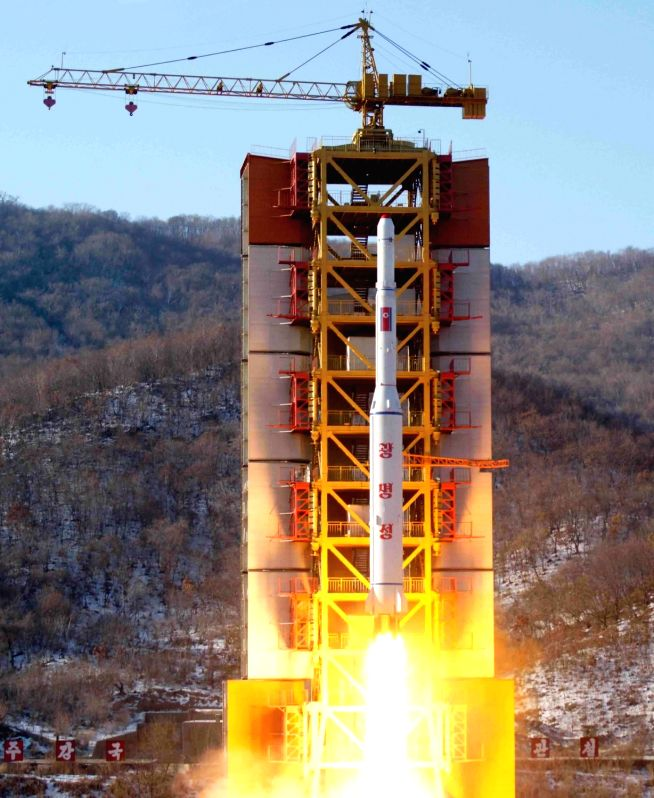 This file photo shows North Korea test-firing a rocket at its Sohae launch site on Feb. 7, 2016. In a report published on Aug. 7, 2018, U.S. website 38 North said new satellite imagery from ...