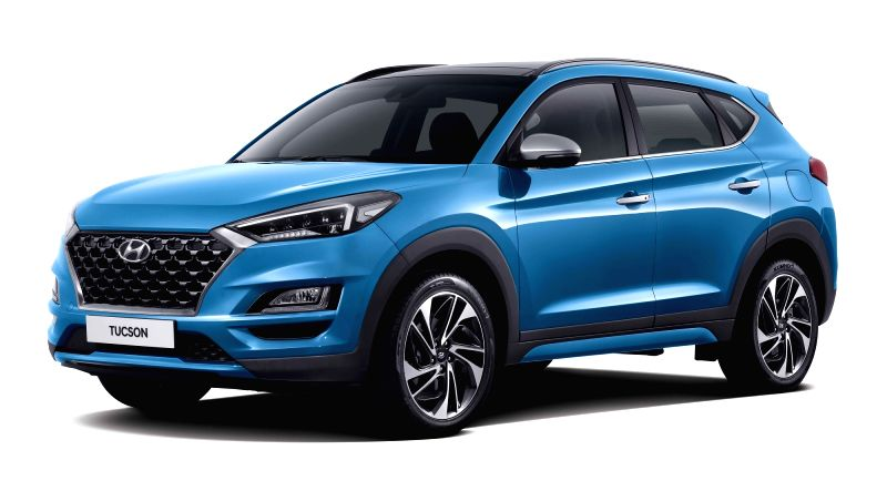This photo provided by Hyundai Motor Co. on Aug. 7, 2018, shows the automaker's facelifted Tuscon SUV with improved driving, safety and fuel economy features, which hit local showrooms the ...