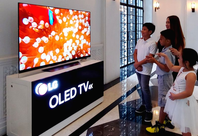 This photo provided by LG Electronics Inc. on July 31, 2018, shows LG OLED televisions donated to the National Museum of the Philippines.