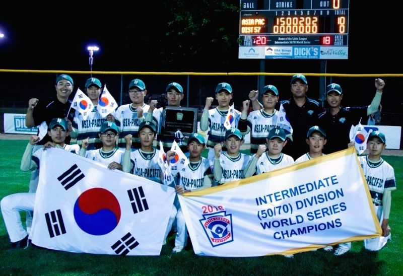 This photo provided by the Korea Little League Baseball Federation on Aug. 6, 2018, shows the South Korean Little League baseball players who won the Little League Intermediate World ...