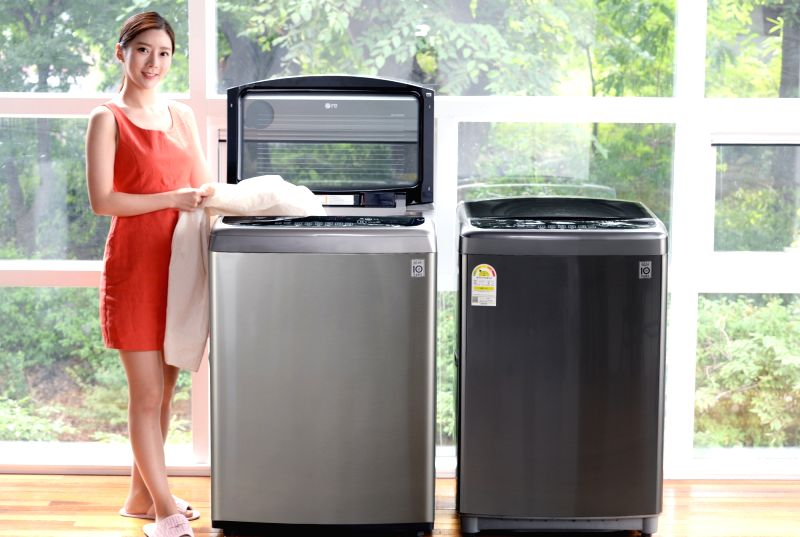This photo released by LG Electronics Inc. on July 25, 2018, shows the company's new Black Label Plus washing machines.