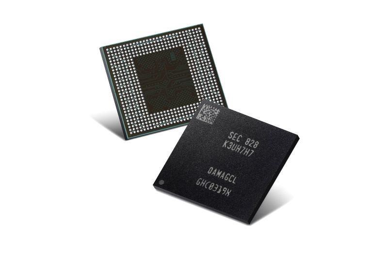 This photo, released by Samsung Electronics Co. on July 26, 2018, shows the second-generation 10-nano level Low Power Double Data Rate 4X (LPDDR4X) 8GB mobile DRAM package. Samsung said the ...