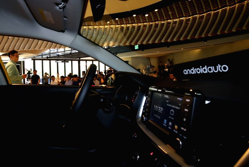 This photo shows a Hyundai Motor vehicle equipped with Android Auto at an event in Seoul on July 12, 2018. Android Auto allows drivers to control the car with the help of the Google Assistant ...