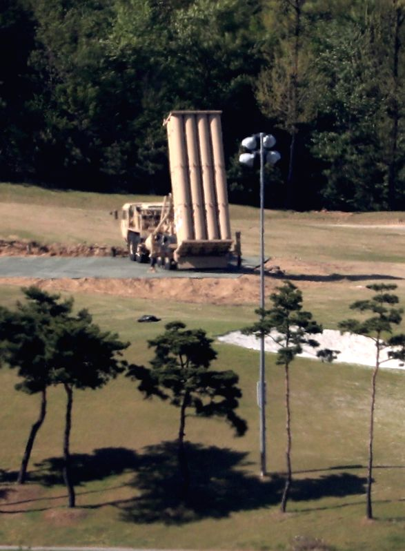 This photo, taken on May 1, 2017, shows a Terminal High Altitude Area Defense (THAAD) launcher installed at a golf course in Seongju, about 300 kilometers southeast of Seoul. On the same day, ...