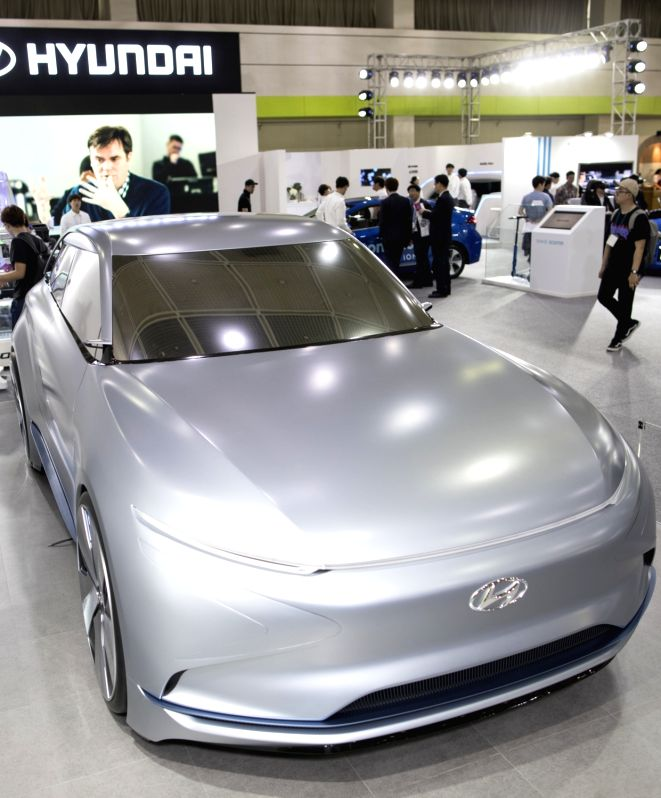 This photo, taken on May 24, 2017, shows the FE Fuel Cell Concept, a futuristic hydrogen-powered vehicle manufactured by Hyundai Motor Co.,, being on display during an exhibition on information and ...